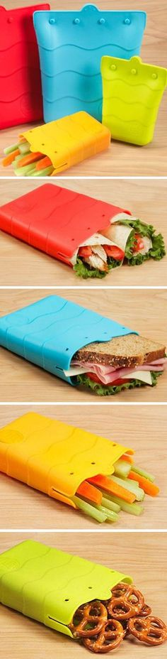 Reusable Silicone Sandwich Bag // great alternative to expensive ziploc bags, also a snack pouch! #product_design