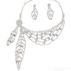 Long Leaf Shaped Alloy Rhinestone Wedding Bridal Jewelry Set(Including Necklace and Earrings) at Storedress.com