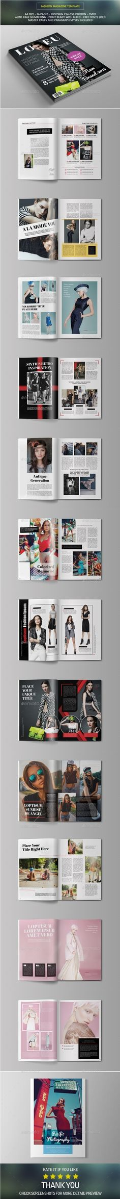 Fashion Magazine Template | #magazinetemplate | Download: http://graphicriver.net/item/fashion-magazine/10426455?ref=ksioks