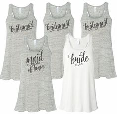 Printed Bridal Party Tank or Tee with Curly Font - Wedding T-Shirts For The Entire Bridal Party