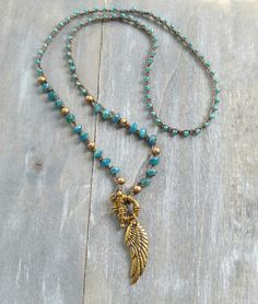 Angel wing necklace, Triple wrap feather pendant bracelet