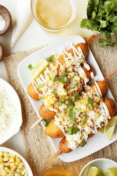 Have fun with your corn dog toppings with these Mexican Street Corn Dogs! Homemade corn dogs topped with mayo, grilled corn, cotija cheese and cilantro! Corndog Recipe, Mexican Street Corn, Hot Dog Recipes, Corn Dogs, Side Dish Recipes, Family Meals, Mexican Food Recipes, Food To Make, Main Dishes