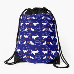 Muster für Katzenbesitzer und Katzenliebhaber mit kleinen Kätzchen und Herz. Über so ein Geschenk freut sich jeder Katzenfreund. Drawstring Backpack, Backpacks, Bags, Gifts For Cat Lovers, Cinch Bag, Heart, Patterns, Handbags, Backpack