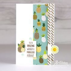 Tabs For Everything Pineapple Card - Charlet Mallett, Stampin' Up! Ball Birthday Parties, Birthday Cards, Sewing Baskets, Bird Cards, Card Sketches, Stamping Up, Stampin Up Cards, Cardmaking, Craft Projects