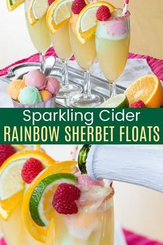 Rainbow Sherbet Sparkling Cider Floats are a fun and easy way to add some color and bubbles to any special day. Simple to make, but there are a few tricks to make them easy to assemble and extra special and sparkly! A kid-friendly mocktail or dessert recipe for a birthday or spring holiday, or a rainbow treat to celebrate a gluten free St. Patrick's Day! Refreshing Cocktails, Cocktail Drinks, Cold Drinks, Apple Pear, Apple Cider, Rainbow Treats, Rainbow Sherbet, Dessert Recipes, Desserts