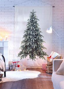 "Vorhang ""Tannenbaum"" (1er-Pack), bpc living, weiß/grün"