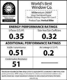 NFRC window label basics : U-FACTOR (0.25 to 1.25): rate of heat transfer; lower~ insulates better . SOLAR HEAT GAIN COEFFICIENT (0-1): fraction of solar energy transmitted; lower~ transmits less heat . VISIBLE TRANSMITTANCE (0-1): amount of light let through; higher~ more light visible . AIR LEAKAGE (0.3 max): rate at which air passes through window joints; lower~ less air leakage . CONDENSATION RESISTANCE (0-100): how well window resists water build-up; higher~ less build-up allowed ~read…