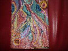pintura abstracta.tècnica mixta acrìlico y lana