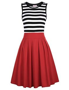 Crew Neck Women Summer Retro Cocktail Dress Navy Style Red Size S BP312-3