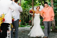 Manuel Antonio Wedding at Punto de Vista | A Brit & A Blonde. Walking down the aisle - beach wedding Costa Rica.  http://abritandablonde.com/2013/12/19/blog/best-costa-rica-wedding-photographers/