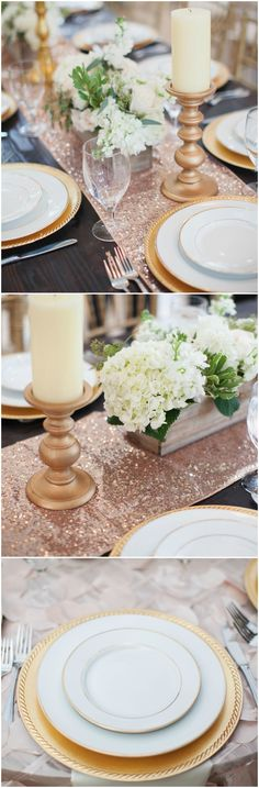 Rose gold sequined runners, gold chargers, candlesticks, pillar candles, white hydrangeas // Amy Riley Photography