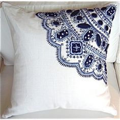 navy batik beading pillow - oh, this would be a fun project!