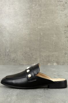 bdbc80774013 We are loving the sophisticated look of the Winona Black Pearl Loafer Slides!  Vegan leather
