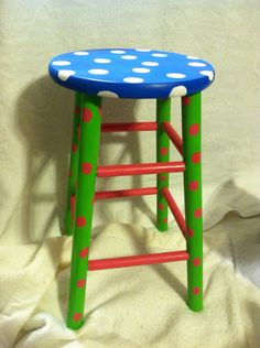Custom Order. Hand Painted Wooden Bar Stool Funky Whimsical Any Design You…