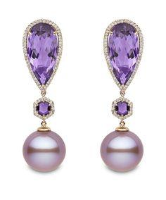 Yoko London rose gold earrings featuring pink freshwater pearls, amethysts and diamonds