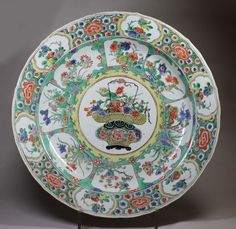Chinese famille-verte charger, Kangxi