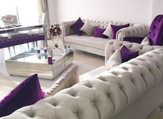 The noble stance of the purple accent is the glittering elegance of the mirrors . Special Home … – Ev dekorasyon fikirleri – einrichtungsideen wohnzimmer Home Room Design, Living Room Designs, Sofa Design, Living Room Sofa, Living Room Decor, Fall Bedroom, Elegant Dining Room, Bedroom Layouts, Dream Decor