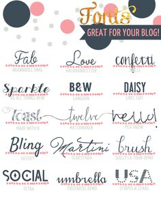 Great Fonts for your Business. Great Fonts, Fancy Fonts, Cool Fonts, Computer Font, Der Computer, Typography Fonts, Typography Design, Photoshop, Blogging