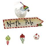 """6"""" Bird on North Pole Sign; made of resin"""