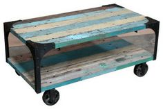 rustic painted coffee table