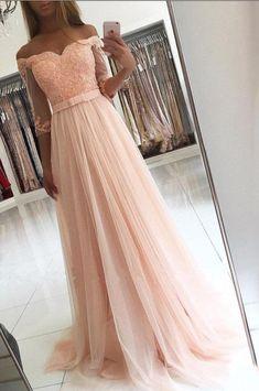 Blush Pink A Line Long Prom Dress,Off#prom #promdress #dress #eveningdress #evening #fashion #love #shopping #art #dress #women #mermaid #SEXY #SexyGirl #PromDresses