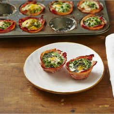 I Quit Sugar Program recipe - Green Bacon + Egg Cupcakes Bacon Egg Cupcakes, No Sugar Foods, Sugar Free Recipes, Healthy Breakfast Recipes, Eating Plans, Food Inspiration, Food To Make, Clean Eating, Instagram