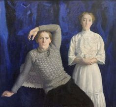 Károly Ferenczy (Hungarian [Impressionism, Realism, Academicism] Double Portrait (Béni and Noémi), Hungarian National Gallery, Budapest. Rainer Maria Rilke, Oscar Wilde, Couple Photography, Art Photography, Victor Vasarely, Sculpture Painting, Painting Art, Girls With Flowers, Fashion Design Drawings