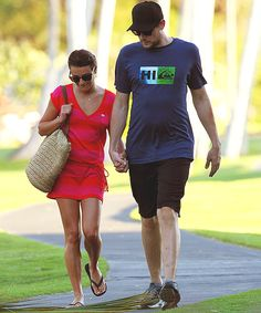 Lea and Cory walking in Hawaii.