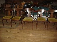5-Walnut-Dining-Chairs-Pennsylvania-House-Set-1-Arm-T-Back-Vintage-Antique