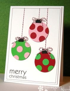 Spotted Baubles so simple yet so cute. could hide cords behind paper overlay, with merry Christmas cut out on Cricut.