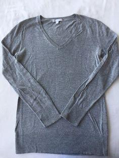 c3c3d6d2eb88d Gap Gray Long Sleeve V Neck Cotton Thin Knit Pullover Sweater Women s Small   Gap