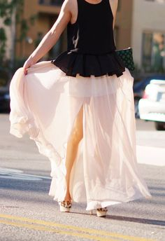 HallieSwanson Peplum Top and Creamy Maxi Skirt