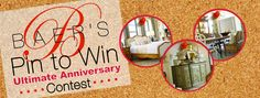 Win a $2000 Baer's Furniture Gift Card Create an Ultimate Anniversary Celebration board, Pin 3 things from Baer's website that celebrate romance or inspire celebration plus images of your idea of the ultimate anniversary celebration. Complete the online entry form on Baer's website at baers.com/...  http://baers.com/current/pinittowinit/ #Bauer'sFurniture