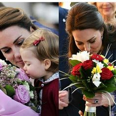 Kate and Charlotte-Kate smelling beautiful flowers