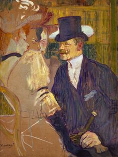 This painting was a portrait of William Tom Warrener. Toulouse- Laurtec used a lot of blue and green as well as oils to make this painting.