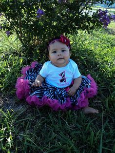 HOT PINK ZEBRA themed Birthday Girl Outfit by 1StopEmbroideryShop