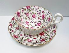 Rose Chintz Tea Cup Radfords Teacup and Saucer Antique Teacups English Teacups Tea Cups Vintage Bone China Cups Teatime Teacups Cup And Saucer Set, Tea Cup Saucer, Antique Tea Cups, Vintage Teacups, Chocolate Coffee, Chocolate Cups, Cool Mugs, Tea Accessories, Bone China