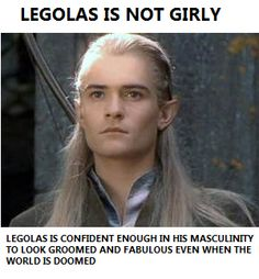 Legolas is an elf, and in Middle-earth many elves have long hair. Legolas And Thranduil, Aragorn, Gandalf, Legolas Funny, Fellowship Of The Ring, Lord Of The Rings, Hunger Games, Doctor Who, Geeks