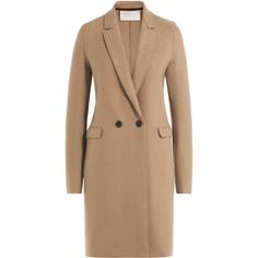 Harris Wharf London Virgin Wool Coat ($385) ❤ liked on Polyvore featuring outerwear, coats, camel, beige coat, slim coat, slim fit coat, lapel coat and camel coat