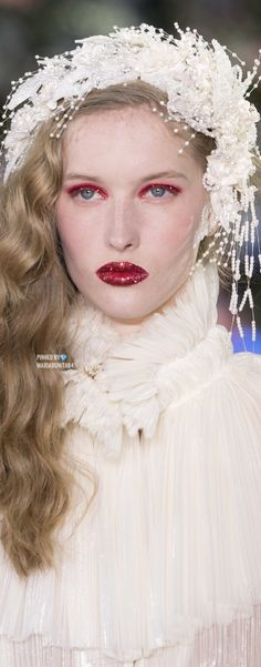 Rodarte Fall19 RTW Details Winter Bride, Pink White, Shades, Bridal, Lady, Gold, Fashion Trends, Design, White People