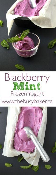 Recipes Desserts The Busy Baker: Blackberry Mint Frozen Yogurt Mini Desserts, Frozen Desserts, Healthy Desserts, Just Desserts, Delicious Desserts, Dessert Recipes, Healthy Blackberry Recipes, Healthy Recipes, Light Summer Desserts