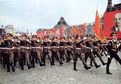 The Honor Guard Company of the Soviet Army marching through Red Square in the 1985 Moscow Victory Day Parade.