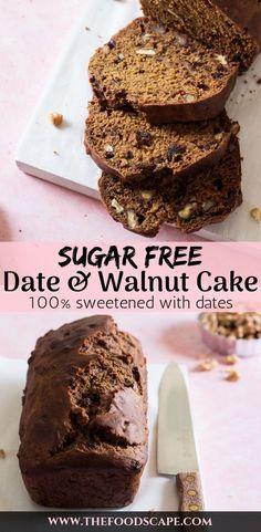 Sugar-free Date & Walnut Cake Recipe. Loaf Date Cake Recipe sweetened only with dates. Desserts With Dates, Date Recipes Desserts, Diabetic Cake Recipes, Sugar Free Desserts, Sugar Free Recipes, Baking Recipes, Sugar Free Fruit Cake, Date Sugar Recipes, Date Walnut Recipes