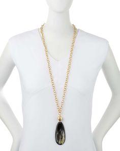 Mixed Dark Horn Pendant Necklace
