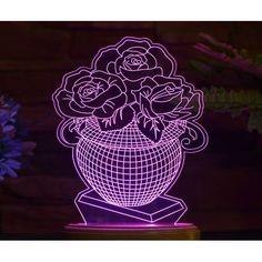 Acrylic lamp Flower vase Flower Vases, Flowers, Led, Animales, Vase, Royal Icing Flowers, Flower, Florals, Floral
