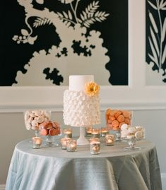 Google Image Result for http://www.snippetandink.com/wp-content/uploads/2012/06/ruffled-wedding-cake-with-peach-rose-10.jpg