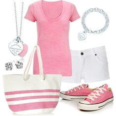 """pink and white"" by sandreamarie on Polyvore"