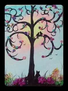 Mixed Media Painting Scenic Tree by Ladydarinefinecrafts on Etsy