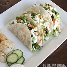 Greek Salad Tacos and Cucumber Dill Dressing. Just leave out chicken to make them kosher & vegetarian