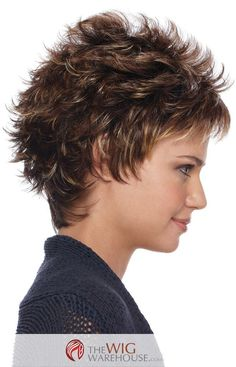 The short and spiky cut of the Petite Demi by Estetica Designs is all at once sassy and cute with a contemporary style for today's modern girl on the go. The wispy layers add incredible volume to a wig that is short in length but positively flowing with charm. This fun style is easy to get ready for a day at work or a night out on the town. Simply fluff the spiky layers with your fingers until you get the desired look, or add a little bit of your favorite synthetic friendly styling product…